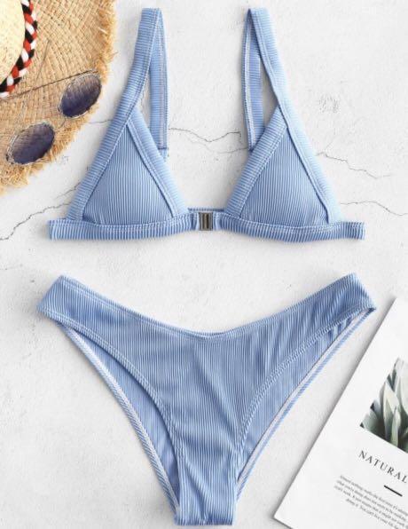 ZAFUL - Ribbed Front Closure Bikini Set - Silk Blue LARGE