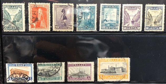 [近百年老票]11張1927希臘郵票Greece Stamp Scott 321-331 5l -5d