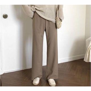 正韓 全新奶茶色鬆緊腰長腿寬褲
