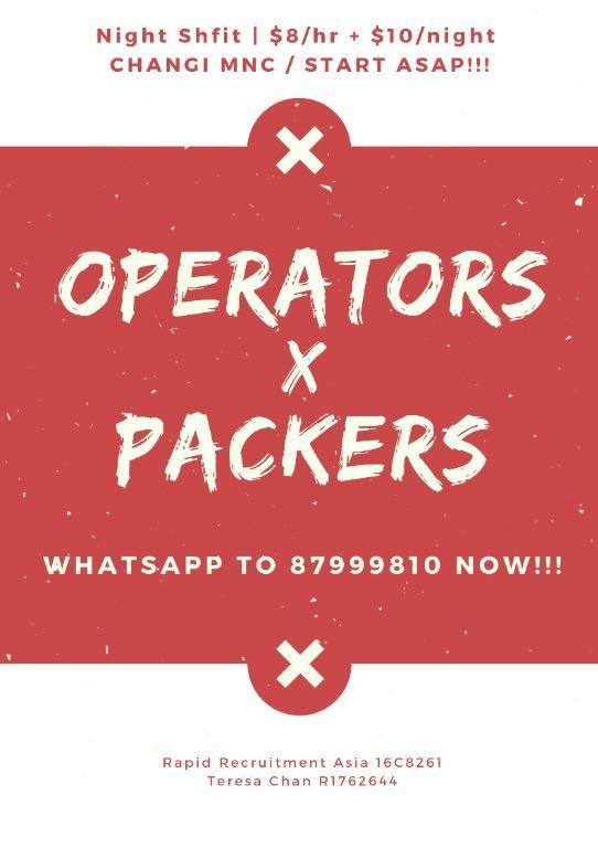 20 x Night Shift Operators @ Changi (START ASAP!!!)