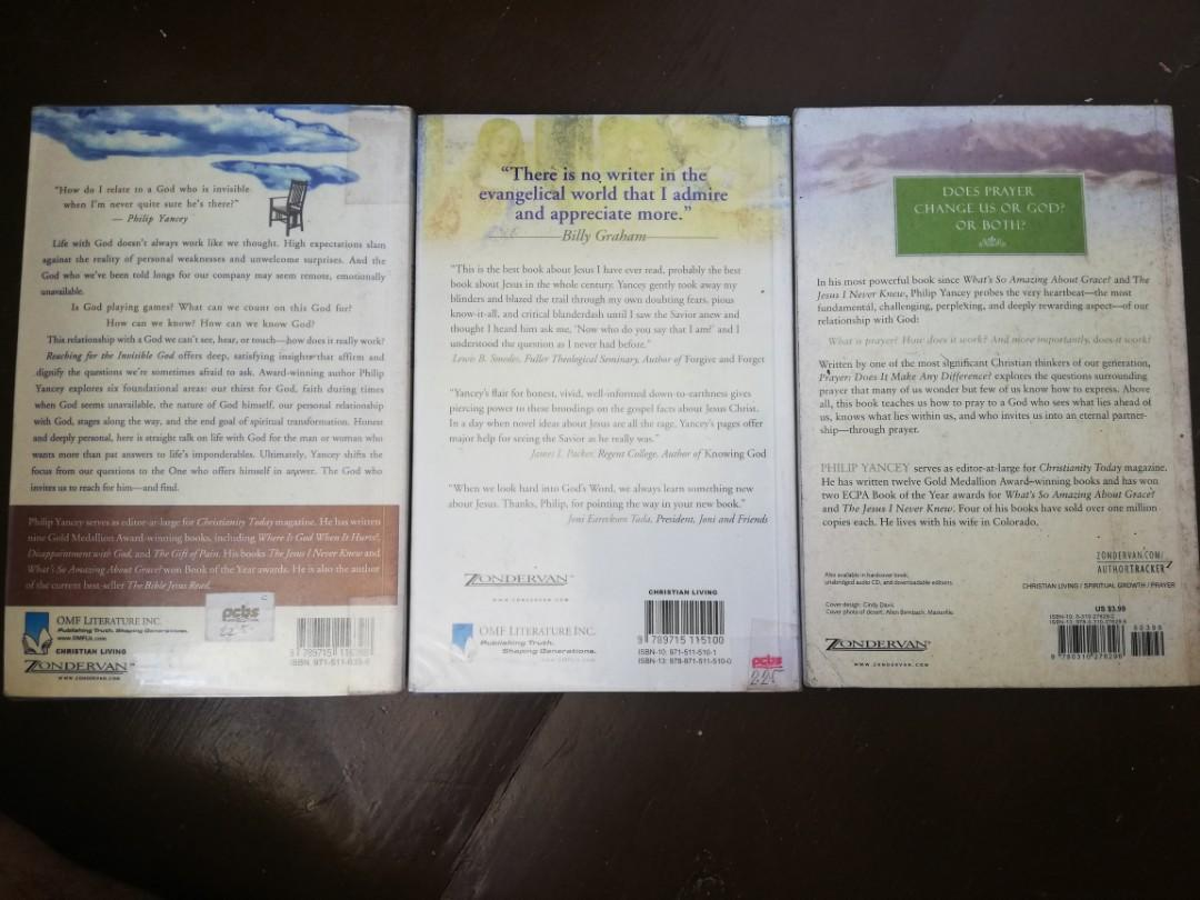 Philip Yancey Book Bundle (Reaching for the Invisible God, The Jesus I Never Knew, Prayer Does it Make Any Difference?)