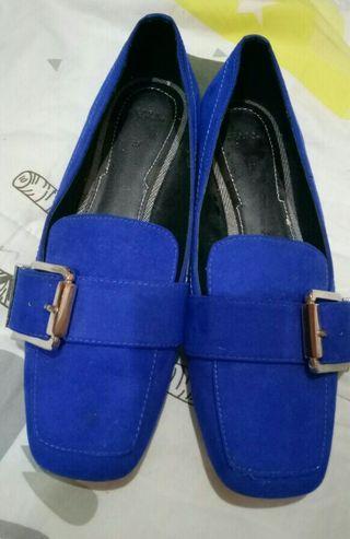 Zara Blue Velvet Loafer