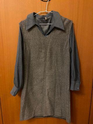 韓國購入 氣質款背心襯衫洋裝(可分開穿)