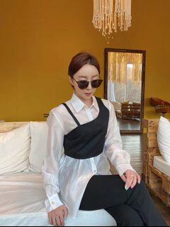 🇰🇷韓國空運預訂✈️設計師款不規則吊帶背心微透膚白襯衫