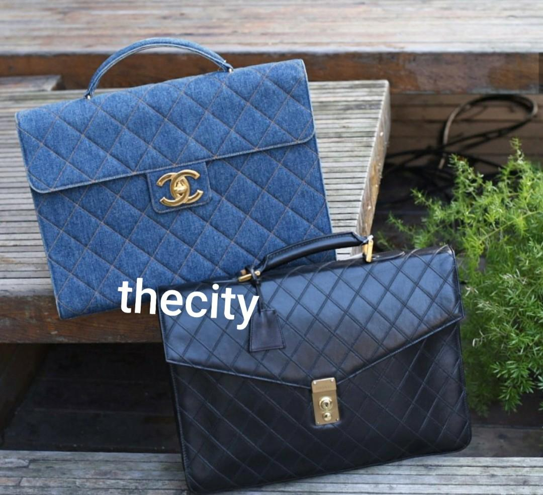 AUTHENTIC CHANEL VINTAGE BRIEFCASE TOTE BAGS  - DENIM  / QUILTED BLACK LAMBSKIN