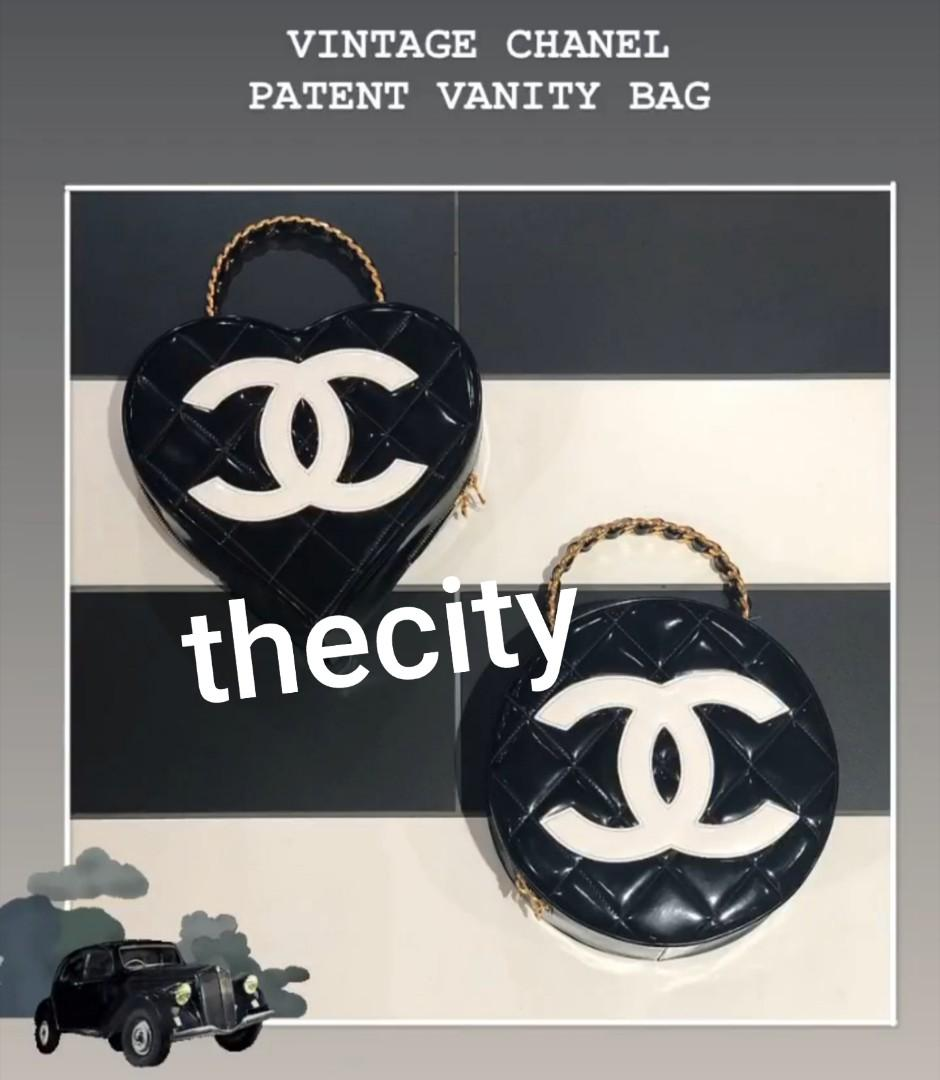 AUTHENTIC CHANEL VINTAGE PATENT LEATHER VANITY BAG - ROUND  CIRCLE  & HEART SHAPE