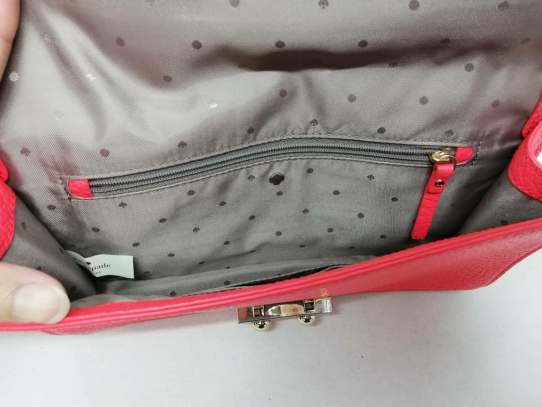 """AUTHENTIC KATE SPADE LEATHER CLUTCH - (SIZE : 11"""" X 6""""  APPROX) - OVERALL GOOD"""