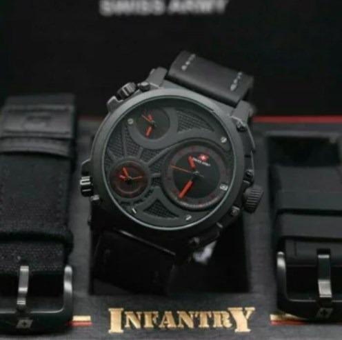 (Best Seller) Jam Tangan Pria Swiss Army Triple Time Paket(Box+Tali Canvas+Tali Rubber) BGJ