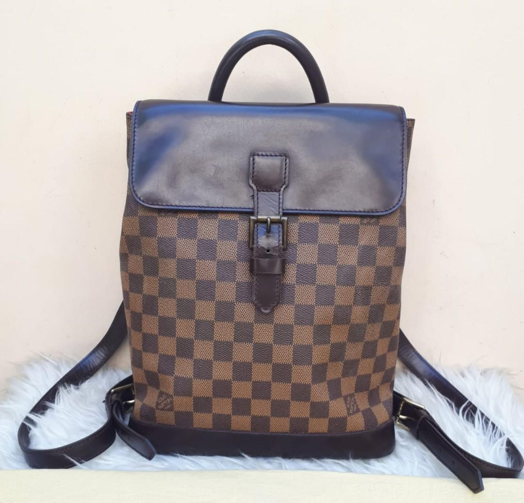 Good Condition LOUIS VUITTON Damier Soho Backpack tahun 1998 Size 24 x 29 x 10 With Bag and Replacement Dustbag