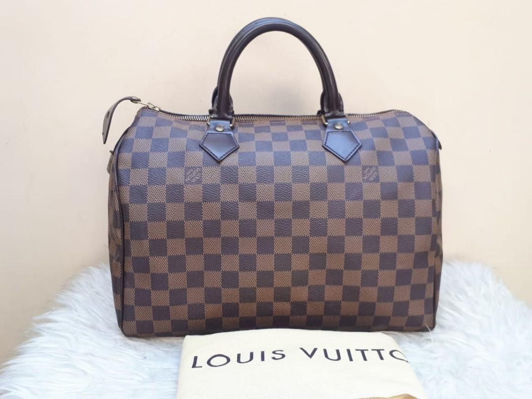 Good Condition LOUIS VUITTON Damier Speedy 30 tahun 2008  With Bag, Padlock, and Dustbag