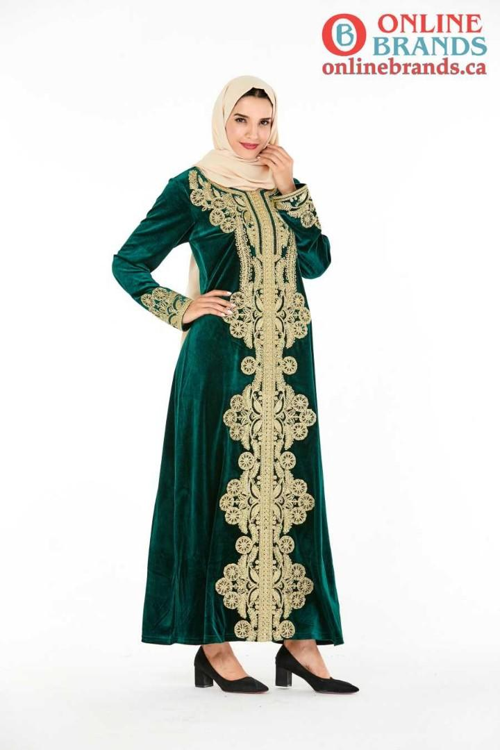 Green Muslim Valvet Abaya Dress with Golden Embroidery   Free shipping in Canada  Online Brands