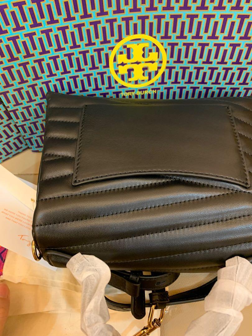 Ready Stock authentic Tory Burch Kira chevron top handles satchel in black hhb