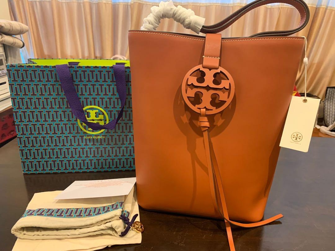 Ready Stock authentic Tory Burch Miller bucket bag in brown large size
