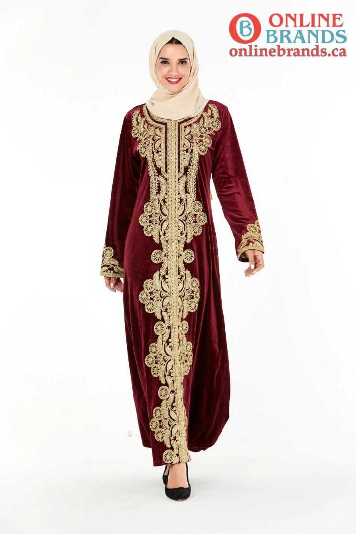 Red Muslim Valvet Abaya Dress with Golden Embroidery | Free shipping in Canada| Online Brands