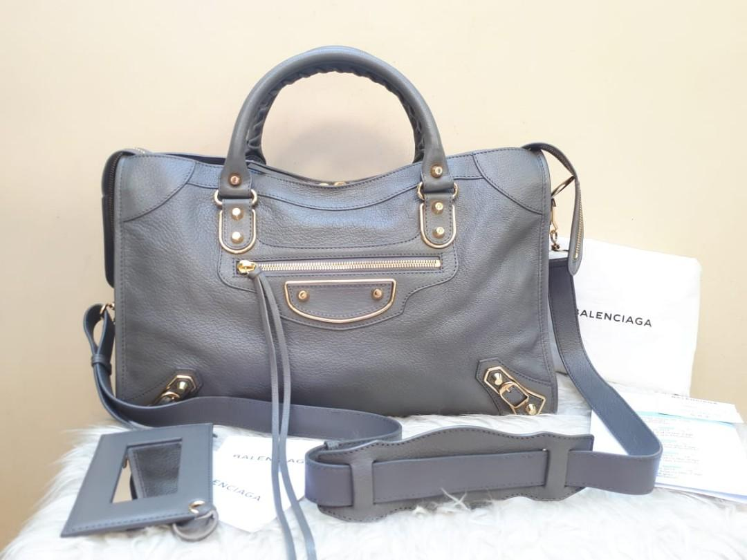 Very Good Condition BALENCIAGA Edge City Reguler in Gris GHW 2018 Size 38 x 24 x 14 With Bag, Mirror, Tag, Gift Receipt, Dustbag, and Strap Panjang Bisa Sling