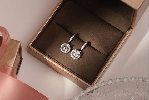 Re-stock item : Vintage Halo Diamond Drop Earrings - lab diamond