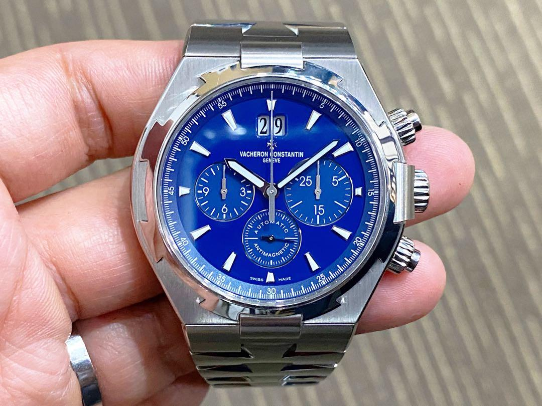 Very Mint Complete Unpolished Jan 2017 Vacheron Constantin Overseas Blue 49150 Service VC Nov 2019 Warranty Until Nov 2021
