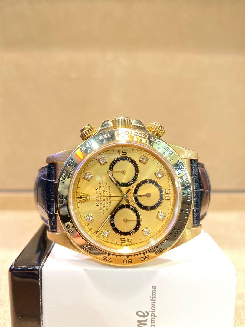 "Pre Owned Rolex Oyster Daytona 16518 ""Inverted 6 Zenith"" Champagne Gold Dial Automatic Yellow Gold Casing Leather"
