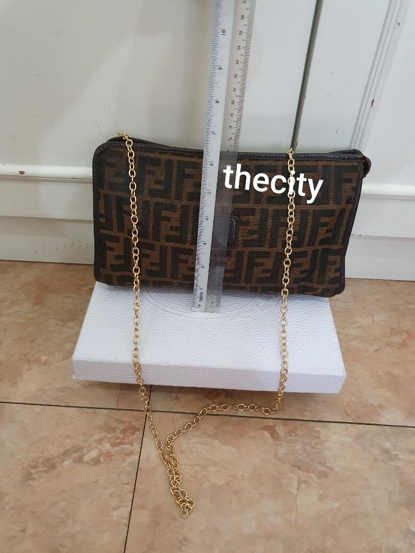 CHEAP DEAL - AUTHENTIC FENDI FF LOGO MONOGRAM CANVAS VANITY POUCH - WITH EXTRA ADD ON HOOKS & STRAP FOR CROSSBODY SLING - GOLD HARDWARE -  CLEAN INTERIOR & POCKETS - CLASSIC TIMELESS VINTAGE - (FENDI VANITY BAGS NOW RETAIL OVER RM 5000+ )