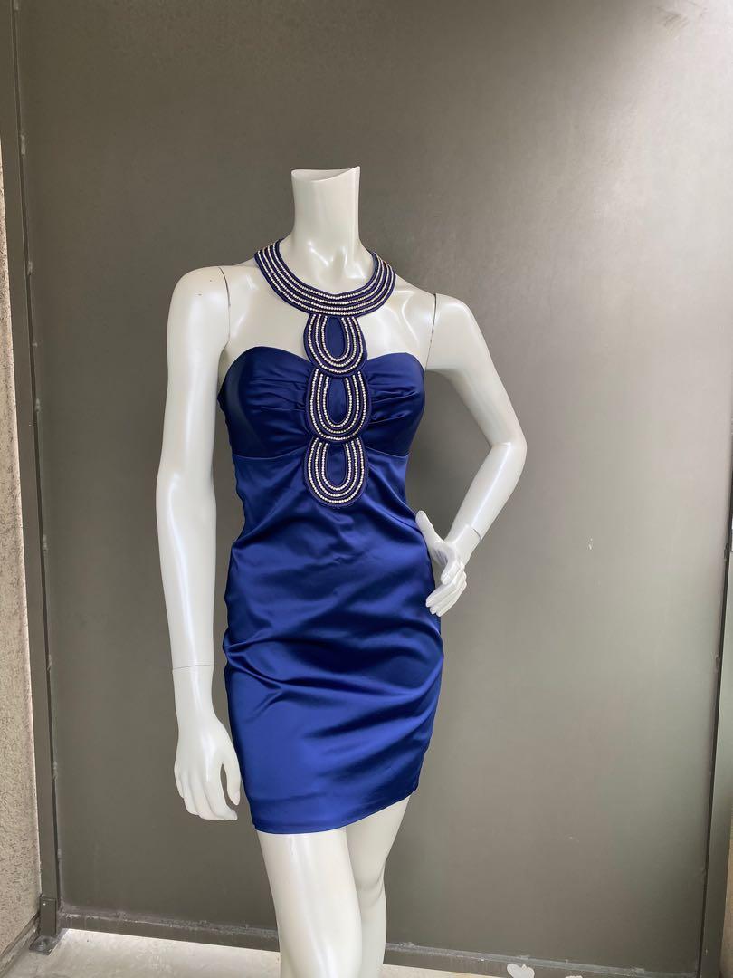 Custom-made dress decorated with Swarovski. Size S (38)
