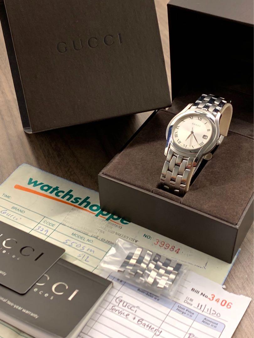 Genuine Gucci 100% Original Full Box & Papers Model 5500M Unisex Luxury Dress Watch