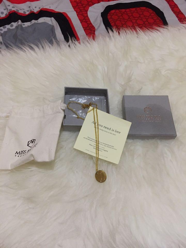 Missbigjill Accessories Constellation Round Necklace+box abu-abu (zodiac Libra)
