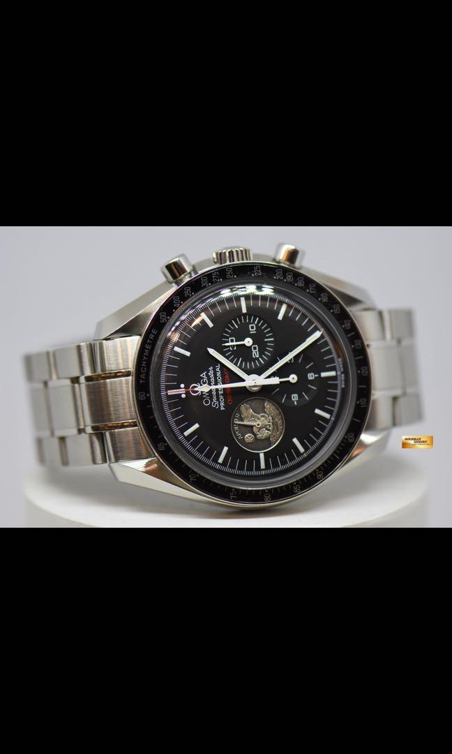 """OMEGA SPEEDMASTER PROFESSIONAL MOONWATCH APOLLO 11 40TH ANNIVERSARY """" THE EAGLE HAS LANDED"""" C.1861 HESALITE CRYSTAL MANUAL WINDING (MINT)"""