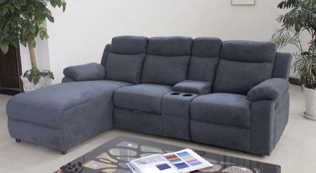 Premium Fabric Sectional with Centrepiece For Sale