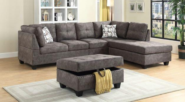 Premium Wool Sectional with Custom Stitching For Sale