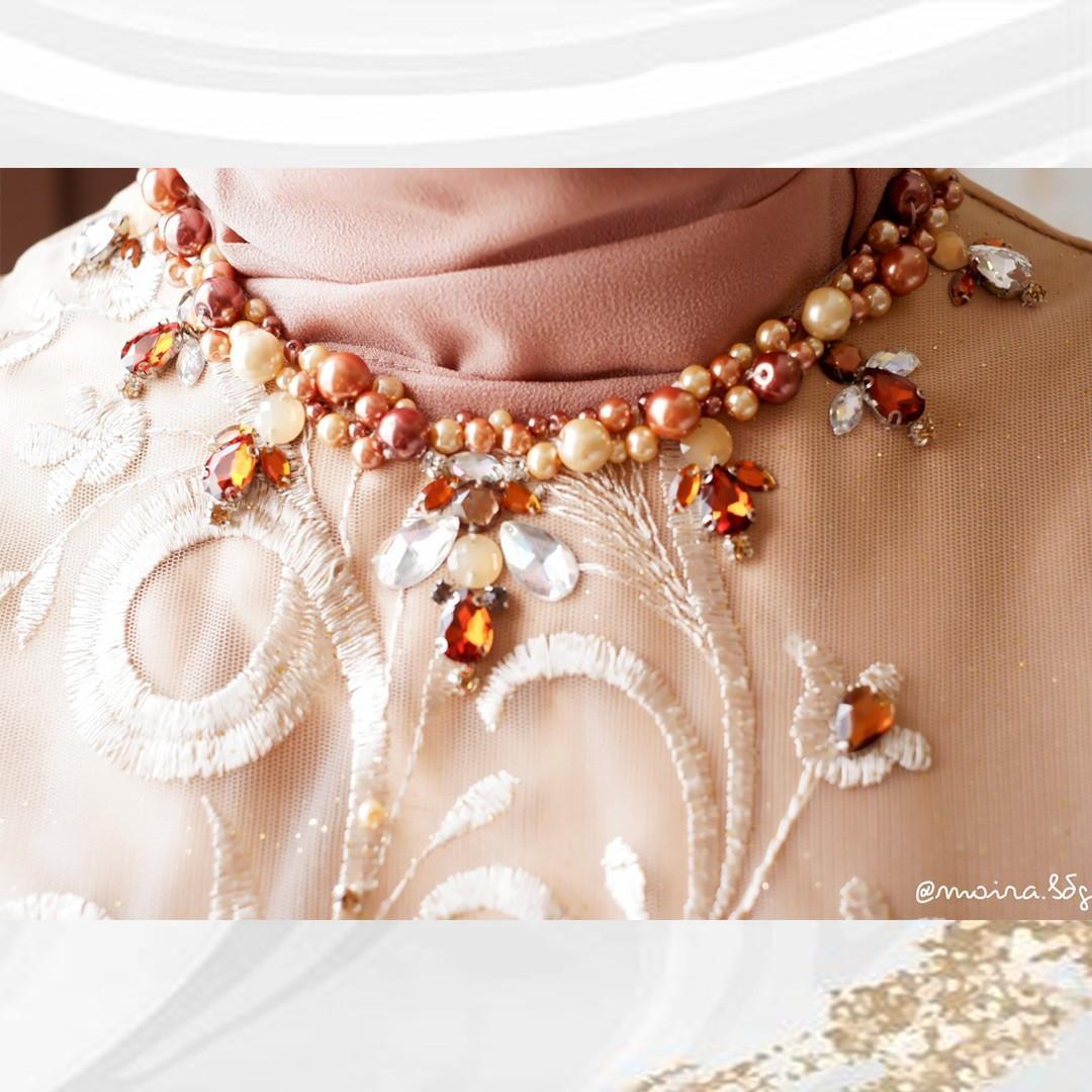 Set tunik pesta kebaya kondangan tunangan wisuda premium coklat nude  full set hijab