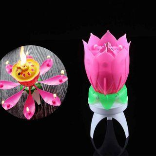 Lotus Musical Spinning Candle Birthday Singing Song Flower
