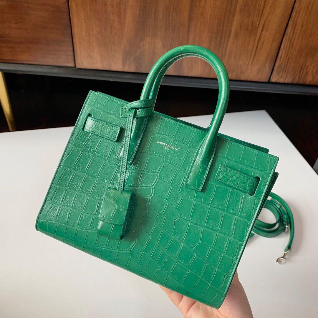 Authentic Brand New YSL Saint Laurent Sac De Jour Emerald Green Croc Embossed Leather