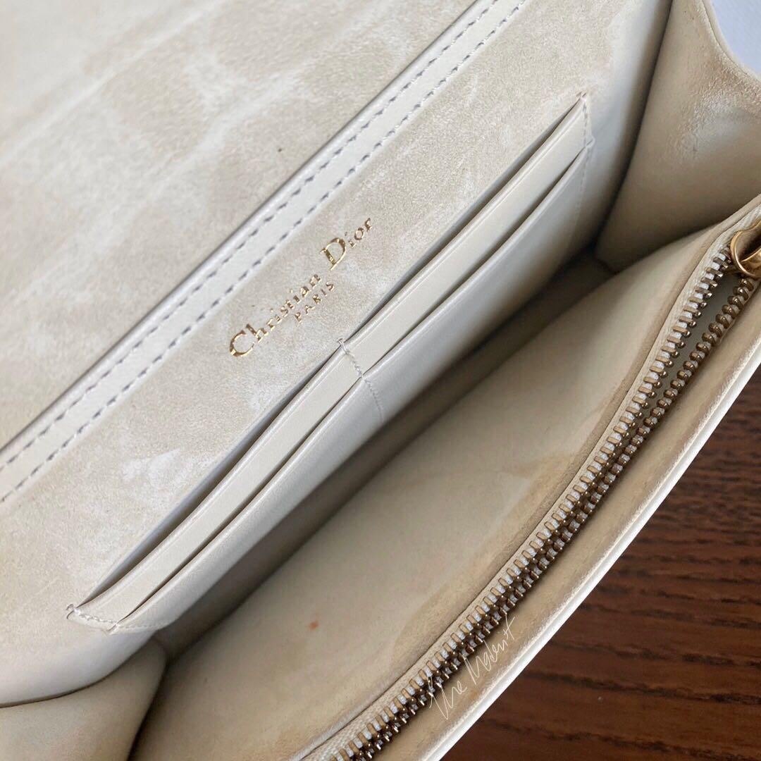 Authentic Christian Dior White Calf Leather Studded Diorama Wallet On Chain WOC