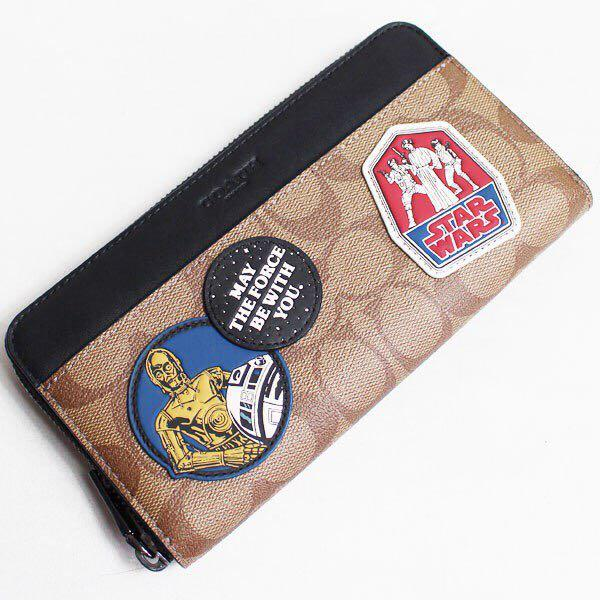 Authentic star wars x coach accordion Wallet in signature canvas with patches