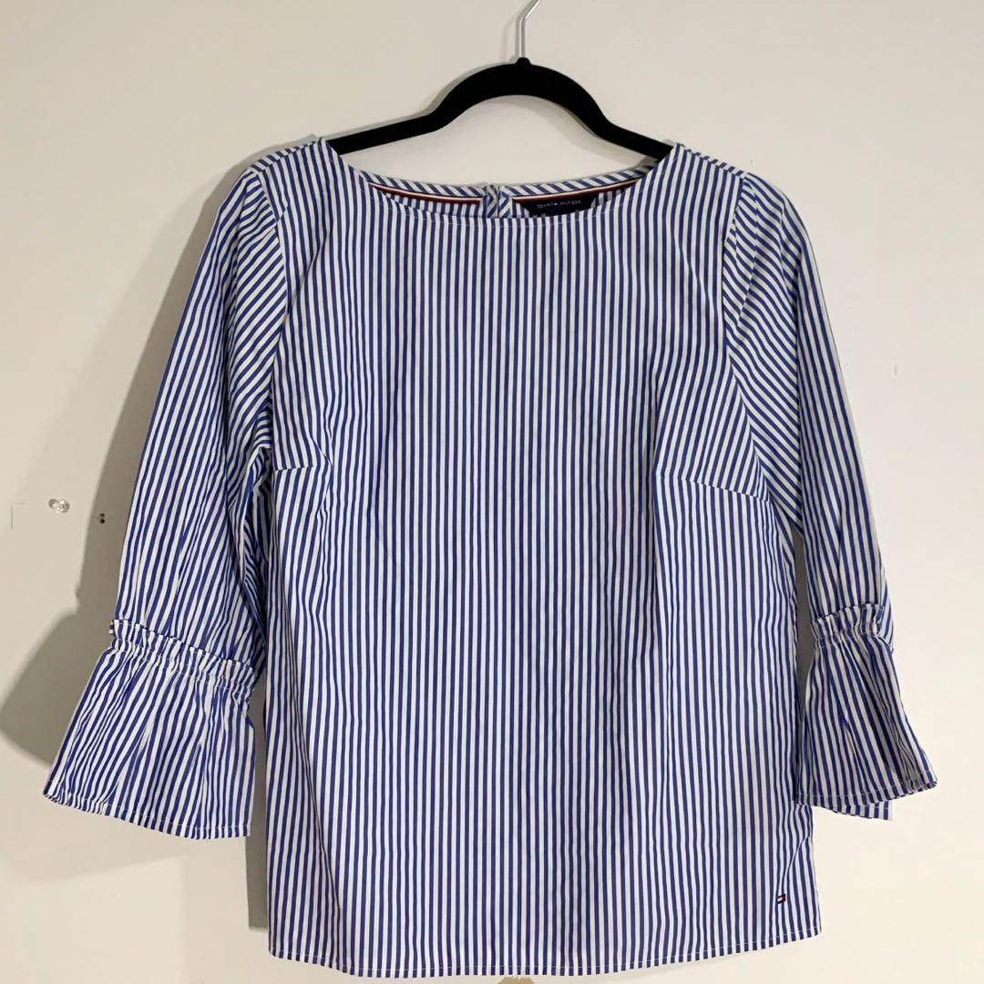 blue and white striped Tommy Hilfiger 3/4 sleeve blouse