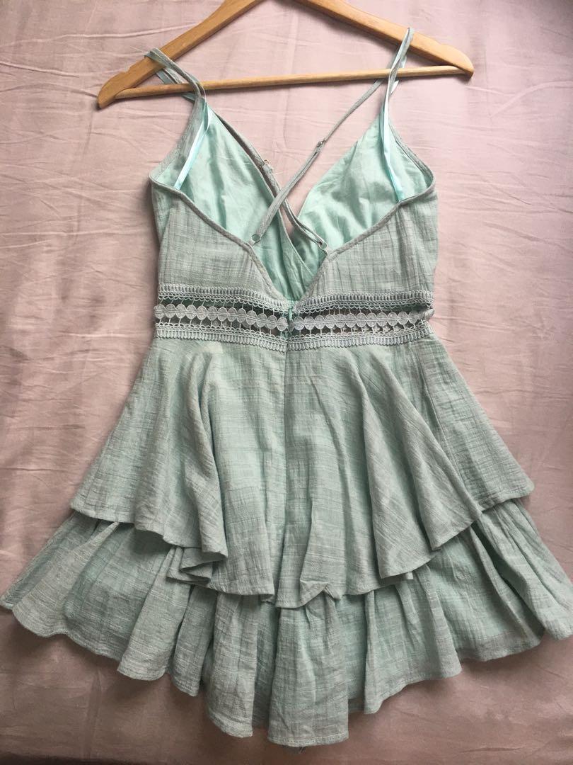Chiffon boutique green mint playsuit size 8