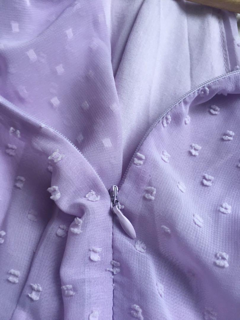 Chiffon boutique lilac dress size 8