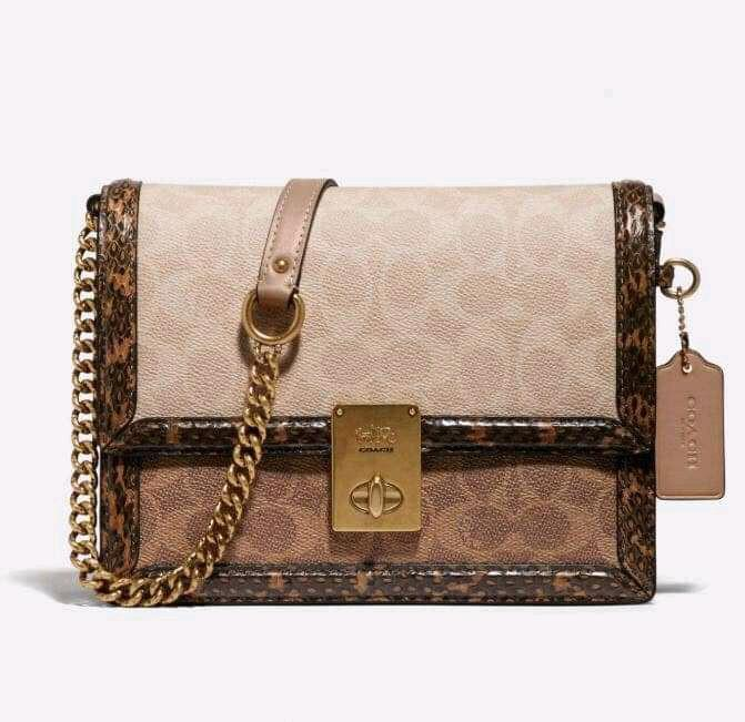 Coach Hutton shoulder bag in blocked signature canvas with snakeskin detail 89068