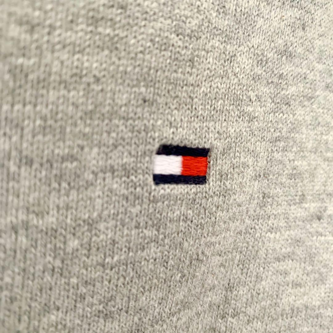 grey and white striped knit Tommy Hilfiger sweater