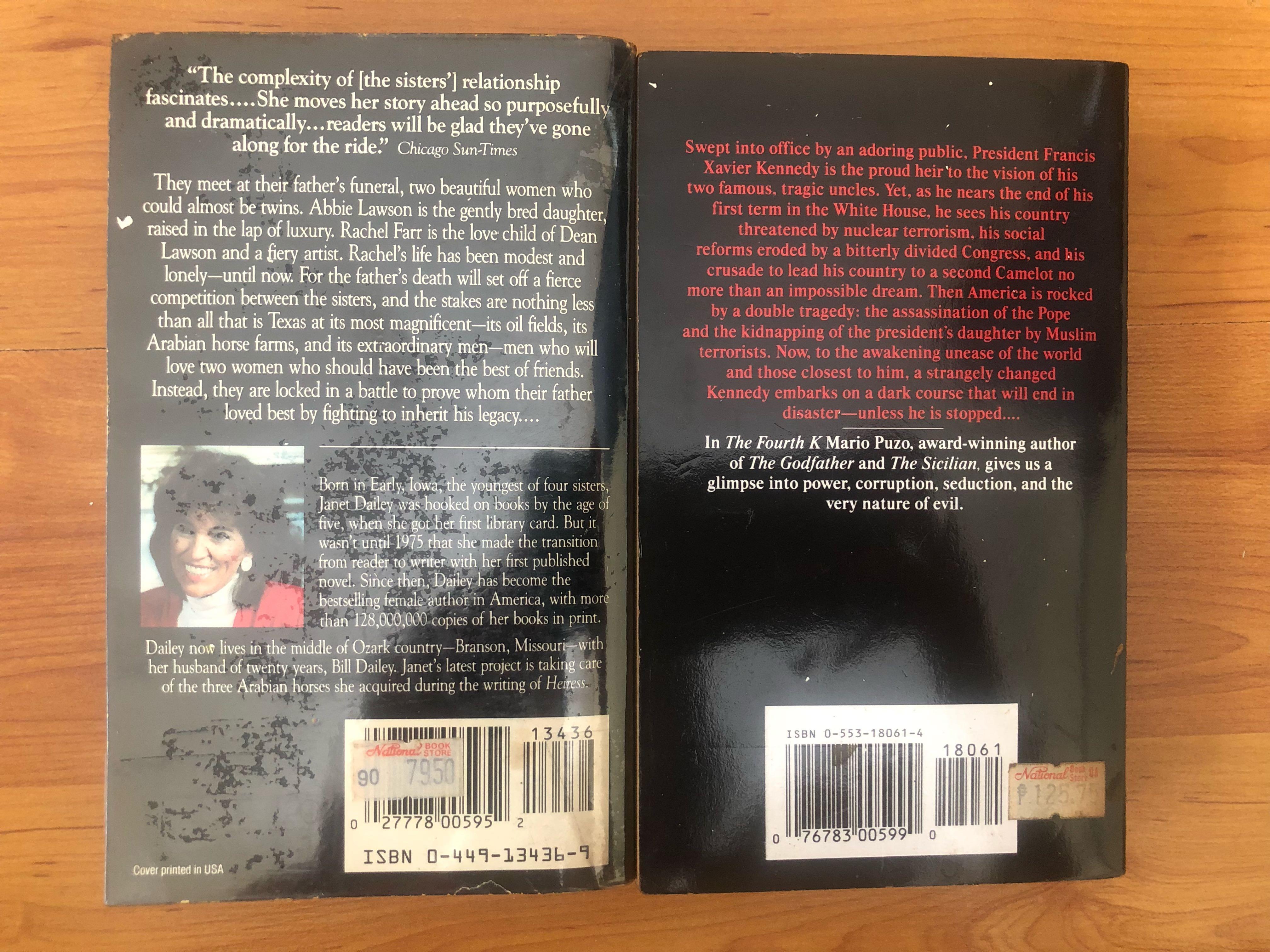 Jackie Collins, Joan Collins, Mario Puzo, Jackie Weger, Marabel Morgan, Robert Tine Books etc..