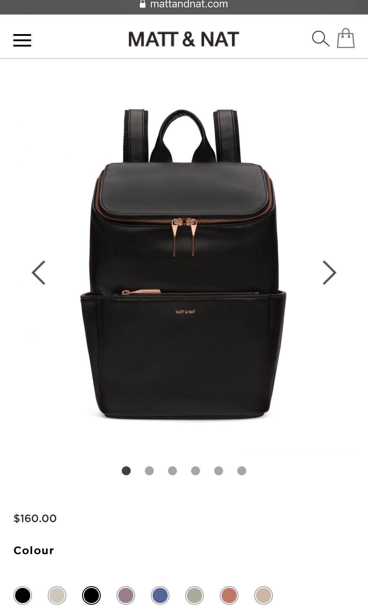 MATT and NAT black brave backpack with rose gold hardware