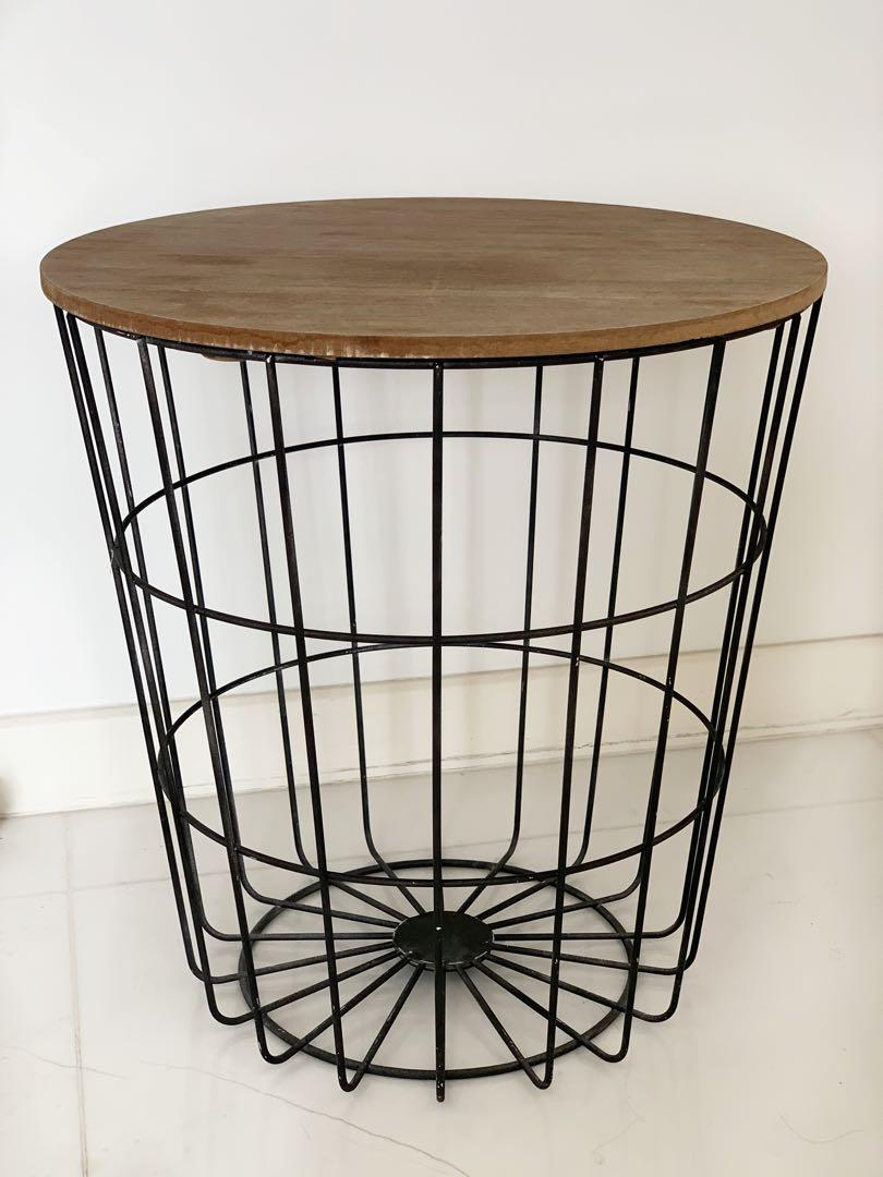 Picture of: Metal Basket Side Table With Wood Lid Furniture Others On Carousell