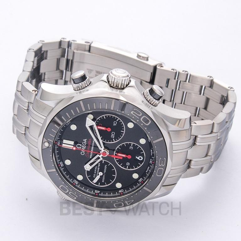 [NEW] Omega Seamaster Diver 300 M Co-Axial Chronograph 44 mm Automatic Black Dial Steel Men's Watch 212.30.44.50.01.001