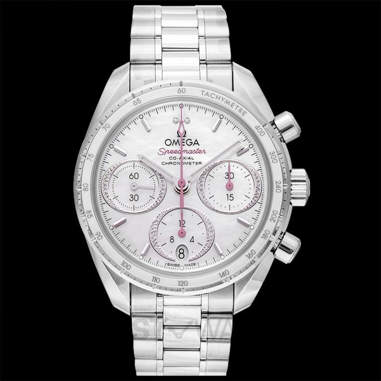 [NEW] Omega Speedmaster 38 mm Co-Axial Chronograph 38 mm Automatic White Dial Diamonds Men's Watch 324.30.38.50.55.001