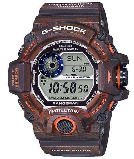 RANGEMAN EARTHWATCH-limited model Casio electric wave solar digital watch brown okapi motif