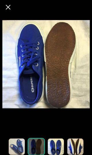 Superga 義大利國民品牌帆布鞋 寶藍 很美很亮眼的藍 特價求售 降價