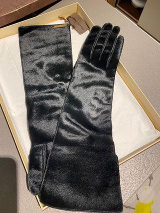 黑色馬毛長手套