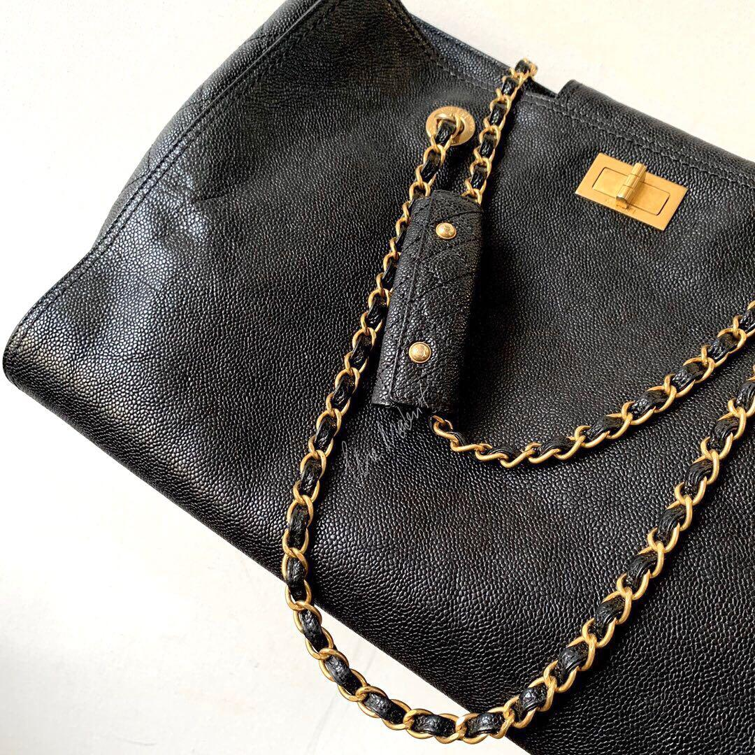 Authentic Chanel 2.55 Reissue Black Caviar Leather Shopping Tote Gold Hardware