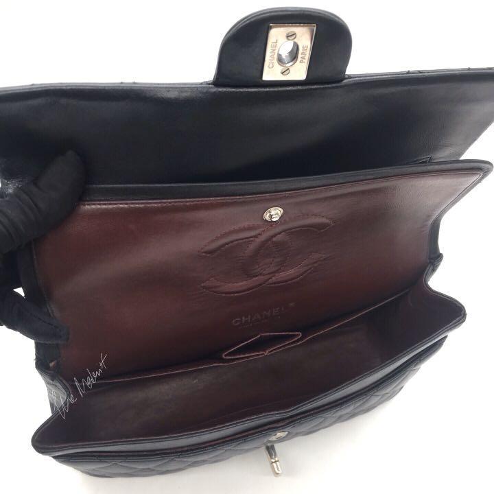 Authentic Chanel Medium Classic Flap Bag Double Flap Black Lambskin Silver Hardware