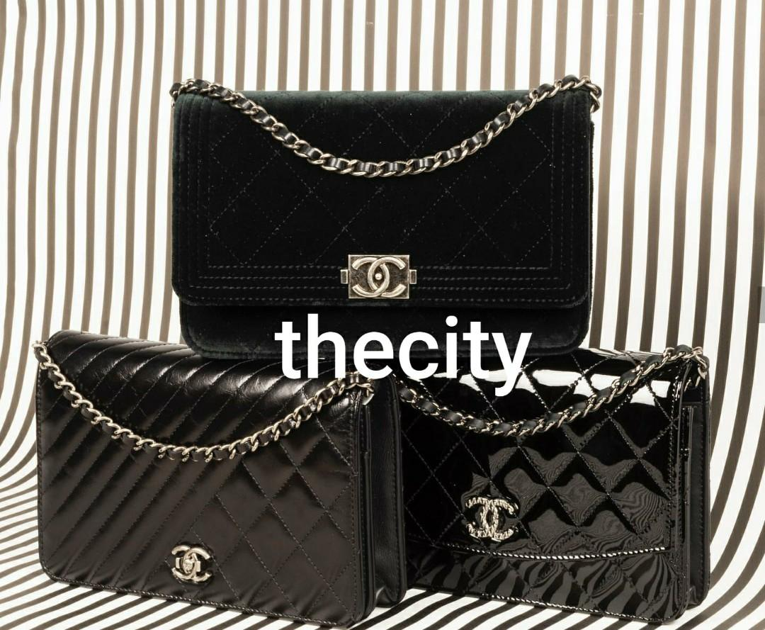 AUTHENTIC CHANEL WALLET ON CHAIN - PATENT LEATHER,  CALFSKIN,  SUEDE VELVET  - SILVER HARDWARE WOC BAGS